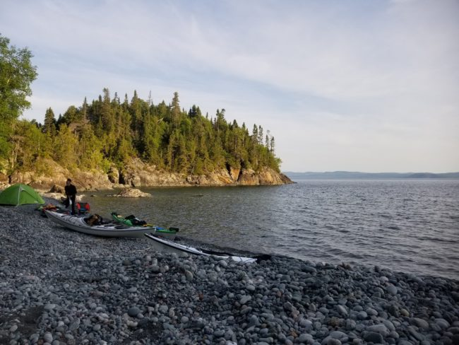 Evening campsite on a rocky beach on Lake Superior.