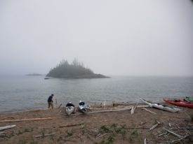 Getting ready to paddle on a foggy morning on Lake Superior.